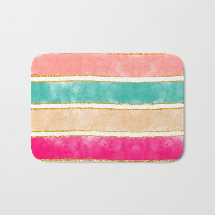 Modern Stripes Pink Red Watercolor Gold Glitter Bath Mat