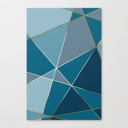 Fragments Muted Blues Gold Canvas Print
