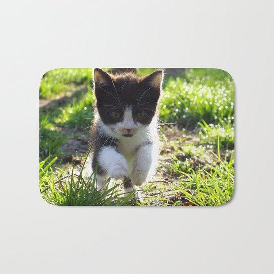 A Tuxedo Kitten Named Seven Bath Mat