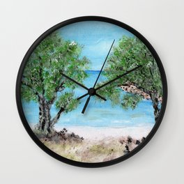 Kefalonia acrylic painting on canvas scanned at 600dpi Wall Clock