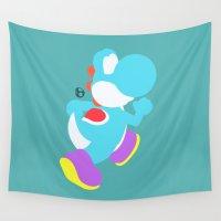 yoshi Wall Tapestries featuring Yoshi(Smash)Cyan by ejgomez