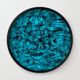 Chaotic spots and scribbles in light blue colors on a dark. Wall Clock