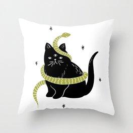 Black Cat Snake Throw Pillow