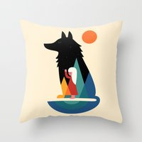 best friend Throw Pillows featuring Best Friend by Andy Westface