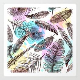 Beautiful Watercolor Feathers Art Print