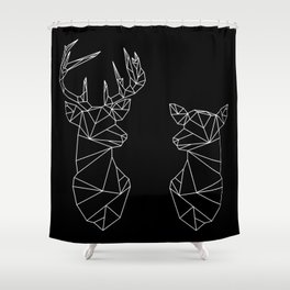 Geometric Stag and Doe (White on Black) Shower Curtain