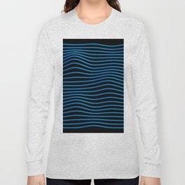 Blue 3d Music Waves Long Sleeve T-shirt