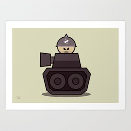 Grumpy Little Soldiers Tank Military Art, Military Wall Art Art Print
