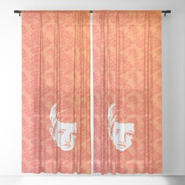 Faces - crying gypsy boy on a red and orange floral background Sheer Curtain