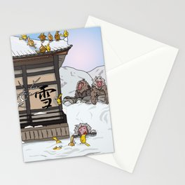 Snow monkey fun at the Japanese shrine Stationery Cards