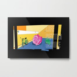 Rose and Bicycle Inside Modern Flat Drawing Metal Print