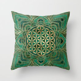 Flower of Life in Lotus - Malachite and gold Throw Pillow