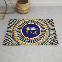 Eye of Thoth with Mandala Inspired By Ancient Egyptian Necklace (lapis lazuli blue) background) Rug