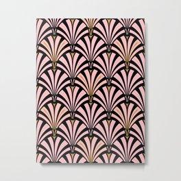 Art Deco Fan Pattern, Pastel Peach on Black Metal Print
