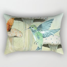 Hummingbird and Mushrooms Rectangular Pillow