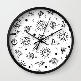 Doodle Drawing Seagulls Shells Sun - Black and White Wall Clock