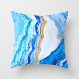 Blue and gold agate Throw Pillow