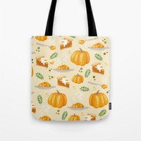 pumpkin Tote Bags featuring pumpkin by Ceren Aksu Dikenci