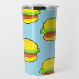 Blue water Burger Pattern Travel Mug