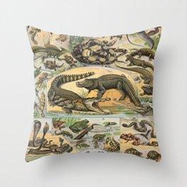 Reptile Illustration - Larousse Throw Pillow
