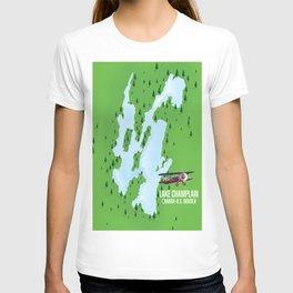 Lake Champlain US Canada travel poster T-shirt