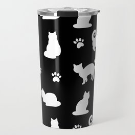 White Cats and Paw Prints Pattern on Black Travel Mug