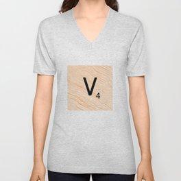 Scrabble Letter V - Large Scrabble Tiles Unisex V-Neck