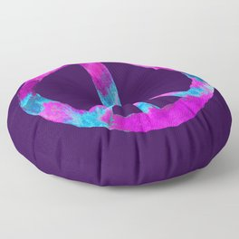 Purple Turquoise Watercolor Tie Dye Peace Sign on Purple Floor Pillow