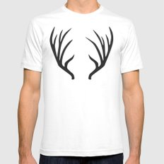 antlers Mens Fitted Tee SMALL White
