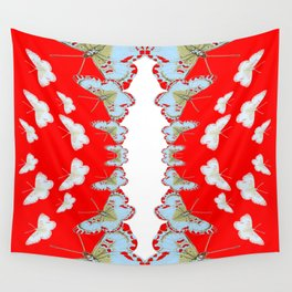 DESIGN PATTERN OF RED & WHITE BUTTERFLIES Wall Tapestry