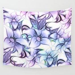 Violet pink teal hand painted sketch elegant floral Wall Tapestry