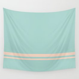 Care Free \\ Retro Teal Stripe Wall Tapestry