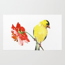 American Goldfinch and Red Flower Rug
