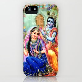 Lord Krishna Putting flowers in Radha's hair iPhone Case