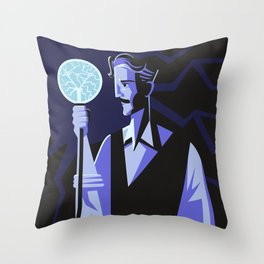 genius experiment with electricity Throw Pillow