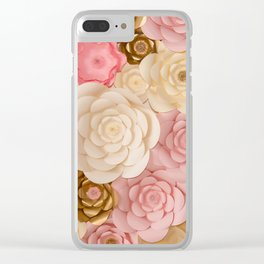 Paper Flowers x Gold Pink Cream Clear iPhone Case