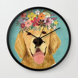 Golden Retriever Dog with Floral Crown Art Print – Funny Decoration Gift – Cute Room Decor – Poster Wall Clock