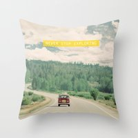 trip Throw Pillows featuring NEVER STOP EXPLORING - vintage volkswagen van by Leslee Mitchell