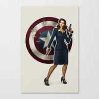 agent carter Canvas Prints featuring Agent Carter by Tera Sidebottom
