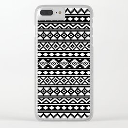 Aztec Essence Pattern II White on Black Clear iPhone Case