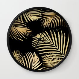 Gold Palm Leaves on Black Wall Clock