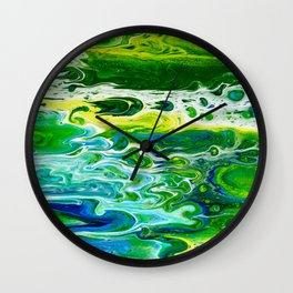 Blue waves and green grass Wall Clock