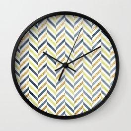 Watercolor & Glitter Chevron Wall Clock