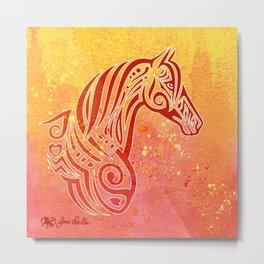 Tribal Tattoo Style Horse Red-Orange Watercolor Metal Print