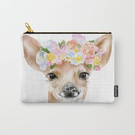 Deer Fawn Floral Watercolor Carry-All Pouch