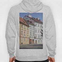Buildings on a Cobblestone Street in Prague Hoody