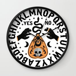 Orange And Black Modern Ouija Board With Ravens Wall Clock