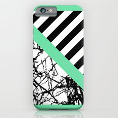 Stripes N Marble - Black and white geometric stripes and marble pattern, bold on green background Slim Case iPhone 6s