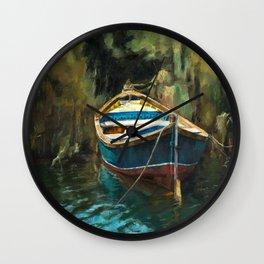 Blue Boat Wall Clock