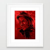 tom waits Framed Art Prints featuring Tom Waits by Melissa Dow Illustration